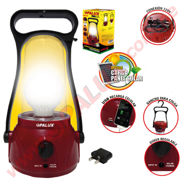 OP-7566 Lámpara Recargable 1 Foco 3 LED dimable 1